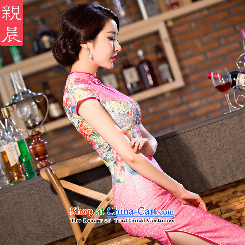 At 2015 new pro-style qipao daily dress improved Ms. summer long short-sleeved retro cheongsam dress pink 2XL