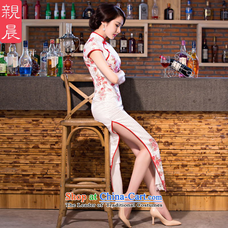 The pro-am daily new improvements by 2015 stylish lace cheongsam dress, summer long short-sleeved cheongsam dress long?XL