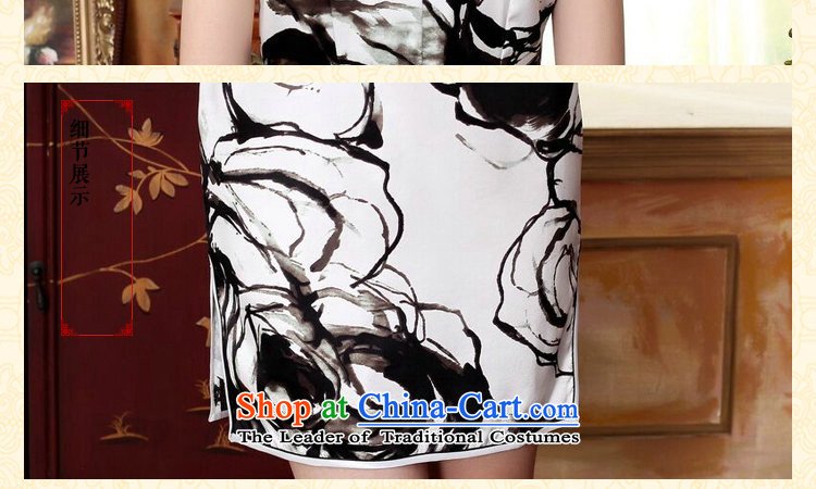 Dan smoke silk Retro classic water droplets Mock-neck herbs extract poster ink paintings of Sau San double short stretch cheongsam dress ink color聽M brand, prices, picture platters! The elections are supplied in the national character of distribution, so action, buy now enjoy more preferential! As soon as possible.