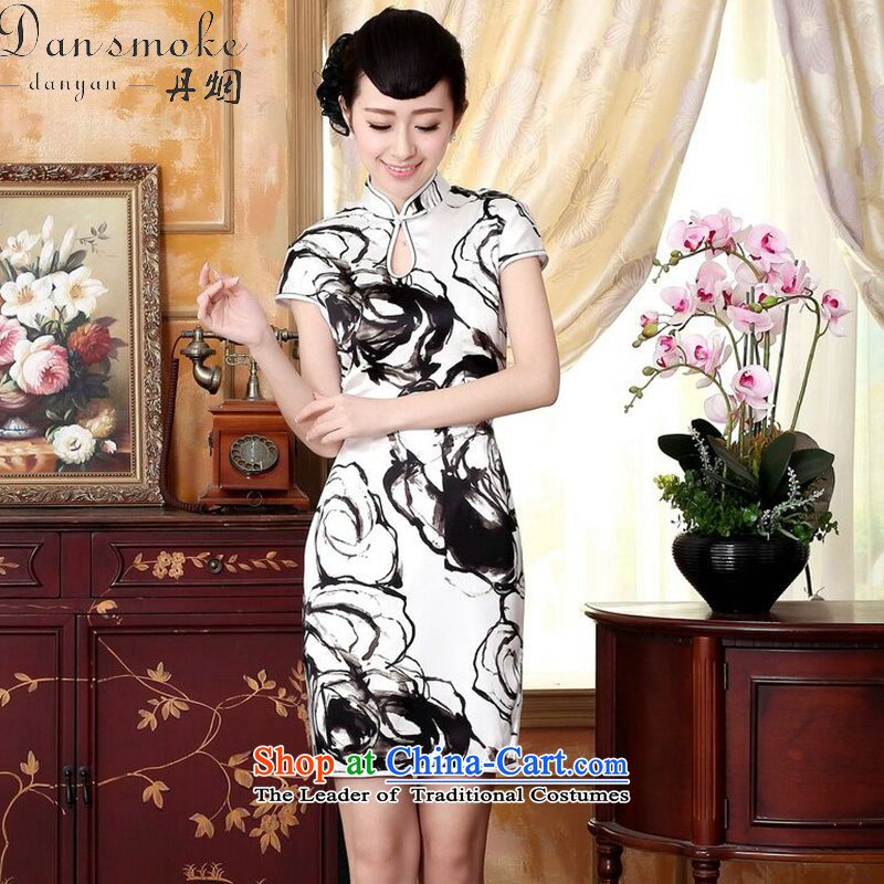 Dan smoke silk Retro classic water droplets Mock-neck herbs extract poster ink paintings of Sau San double short stretch cheongsam dress ink color聽M
