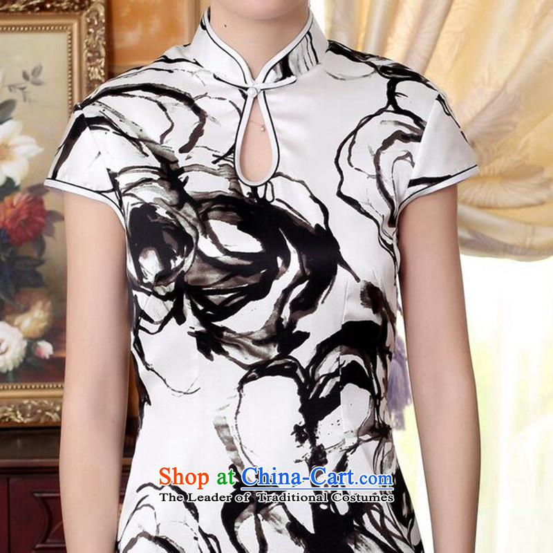 Dan smoke silk Retro classic water droplets Mock-neck herbs extract poster ink paintings of Sau San double short stretch cheongsam dress ink color聽M Dan Smoke , , , shopping on the Internet