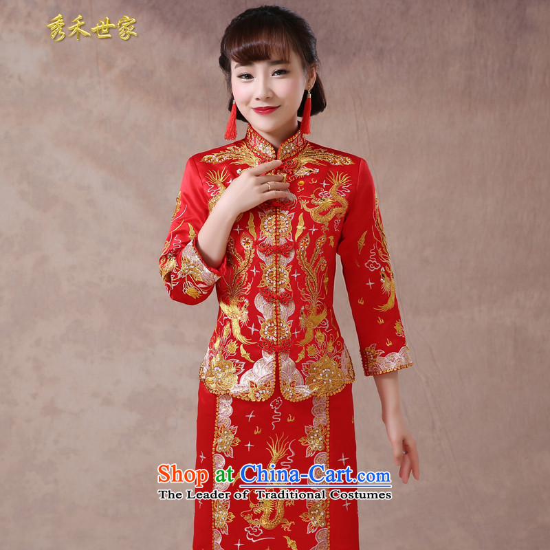 Sau Wo Saga Soo-Wo Service also use Chinese dragon skirt dresses bride services long qipao bows Summer Wedding Gown retro-Hi Services 2015 new聽paragraph B聽L