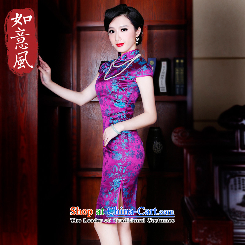 The spring and summer of 2015, the Wind after replacing the new high-end dresses and stylish qipao retro cheongsam dress dresses improved 52 new?52 purple?S