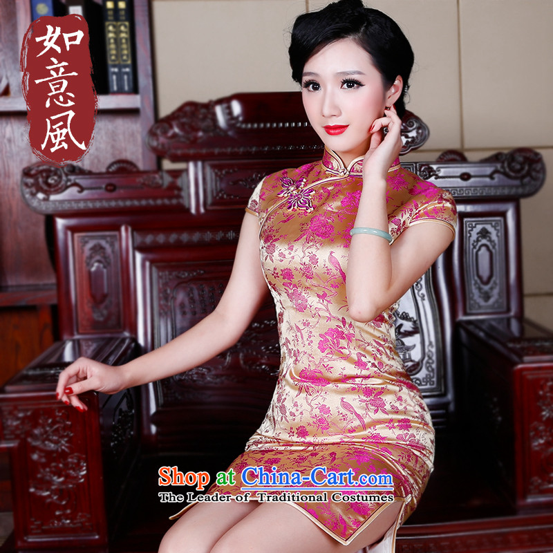 After a爊ew 2015 wind qipao bows Stylish spring services evening dress short of qipao summer qipao 522.3�2.3 New Sau San yellow燬