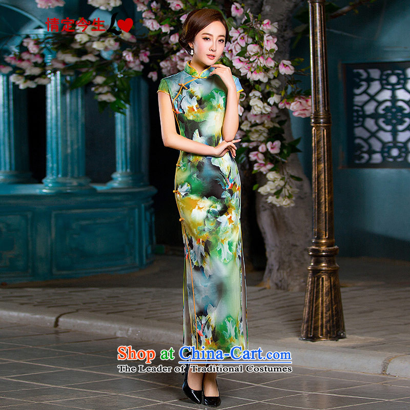 Love of the overcharged long retro 2015 Summer improved qipao New Sau San video thin collar word detained stamp of the forklift truck elegant qipao long skirt picture color燤