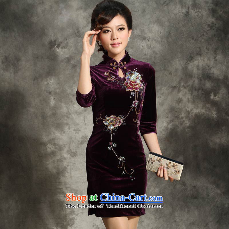 Eason Chan point style qipao skirt spring scouring pads for winter short, long-sleeved wedding large middle-aged mother with her dress brides in maroon�XXXL cuff around five days after Payment Sent
