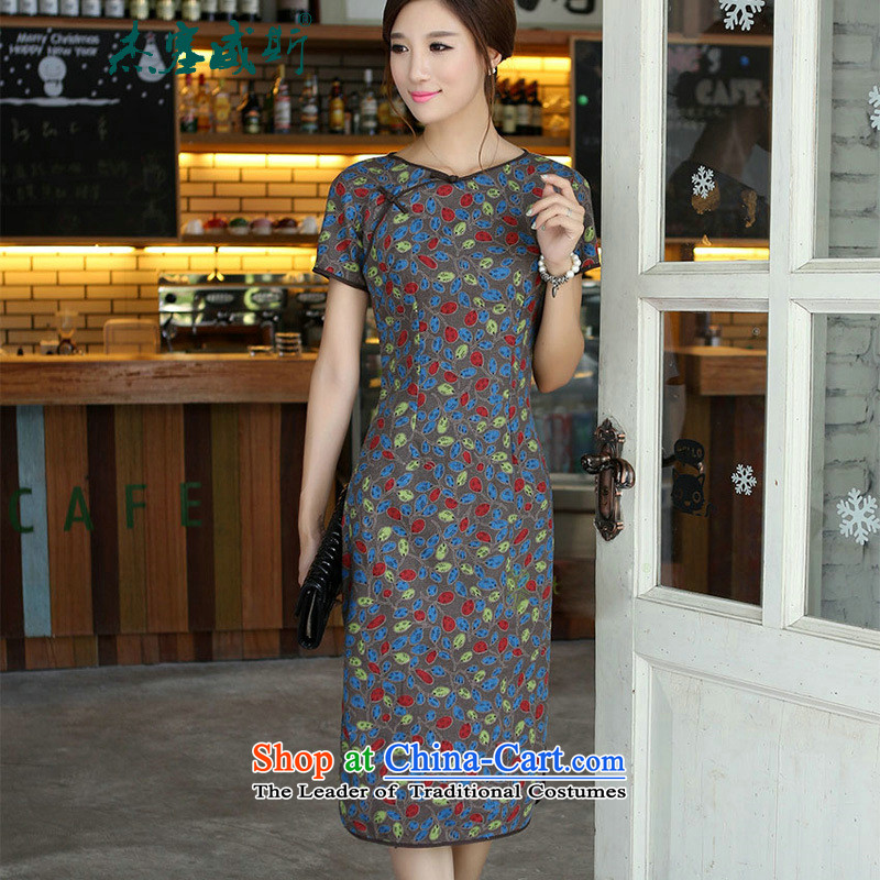 C.o.d. Jie of the new improved cotton linen characteristics of a field manual for Sau San, short-sleeved in long round-neck collar cheongsam dress begonia round-neck collar燤