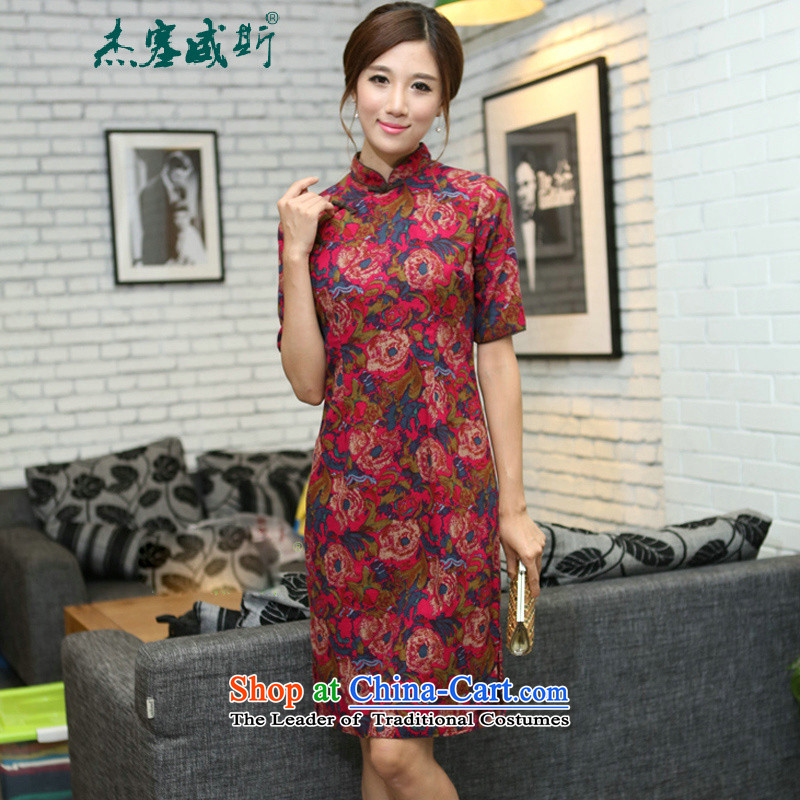 C.o.d. Jie in Wisconsin, China wind spring and summer female cotton linen collar manually. Long cheongsam dress rose collar聽XL