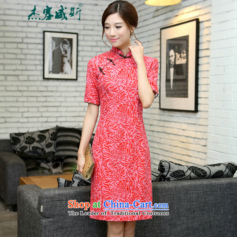 C.o.d. Jie in Wisconsin, China wind improved spring and summer female cotton linen collar manually. Long cheongsam dress Cayman Pearl Sha Wah Mock-neck XXL