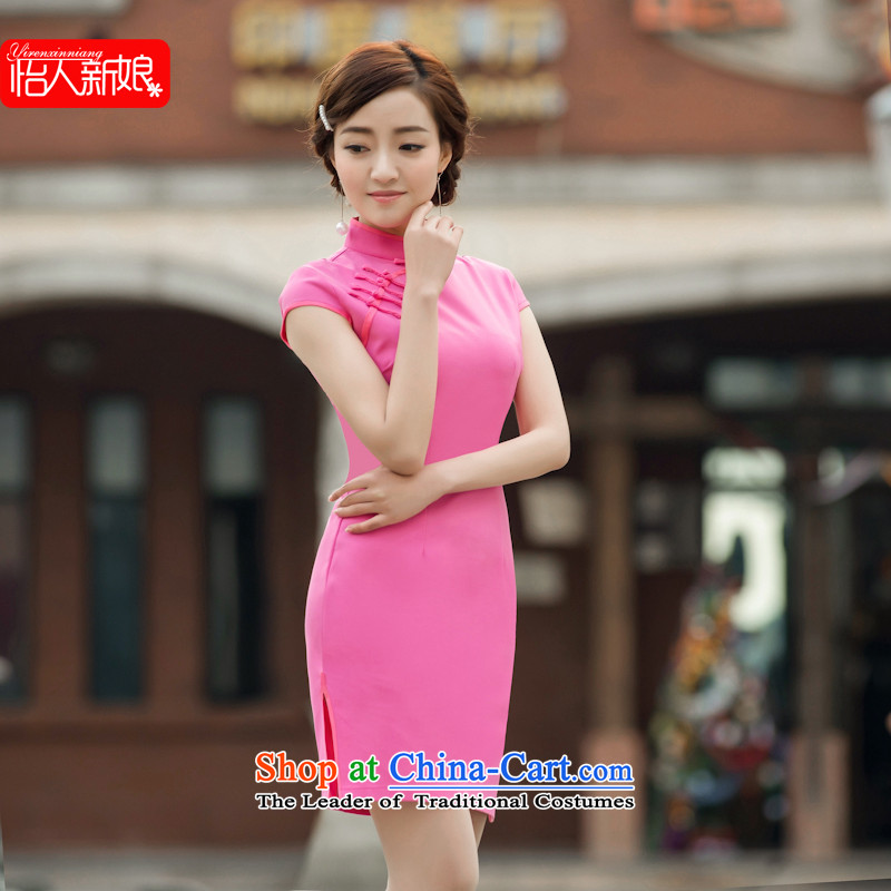 The cheongsam dress for summer 2015 new summer for women of the Republic of Korea_ Graphics Improvement retro Short thin daily qipao pleasant bride in the red 148 XL