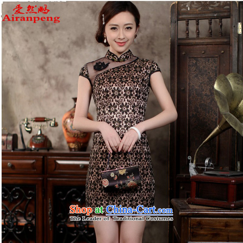 Love So Peng composite lace a stretch fabric daily cheongsam dress spring?2015 new stylish wedding dresses improved black Sau San temperament, M) package returning
