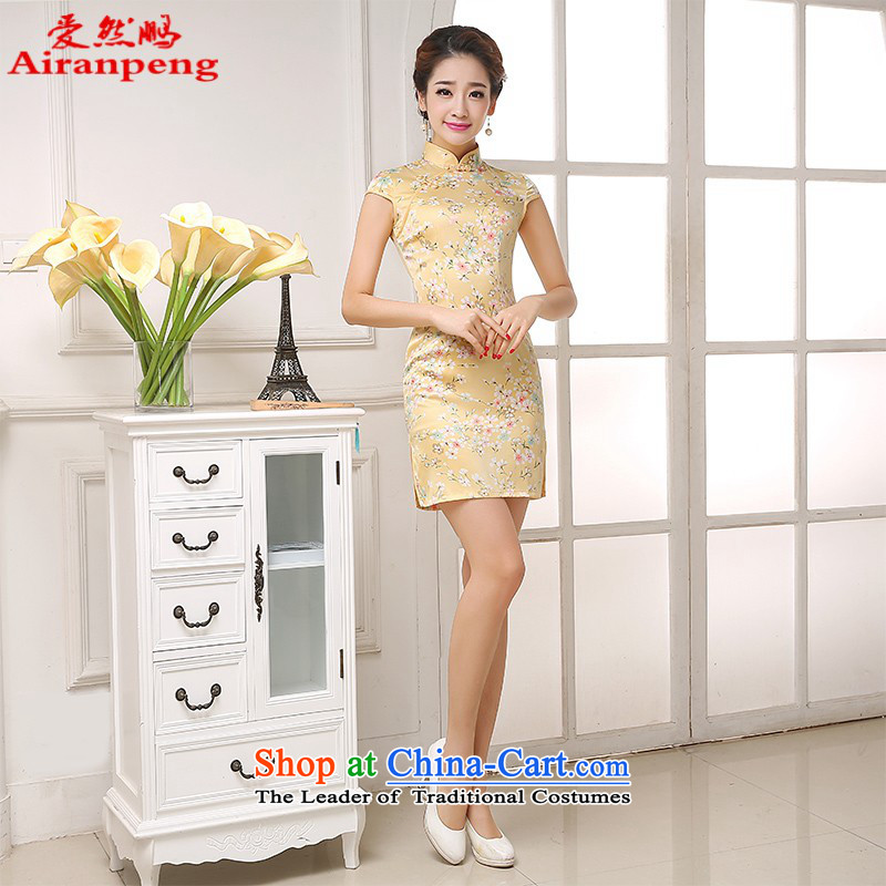 Love So new improved day-to-pang qipao girls spring and summer, stylish, summer short cheongsam dress short cheongsam wholesale Wong Sau San Small S return package