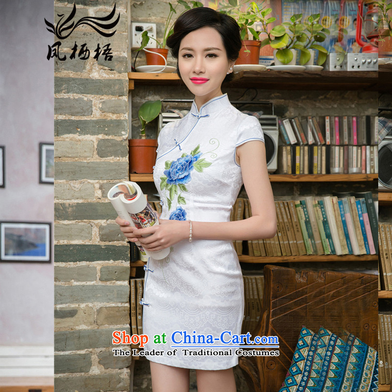 Bong-migratory 7475 2015 Summer new improved stylish elegance Lace Embroidery qipao Sau San cheongsam dress DQ15157 blue flowers?XXL