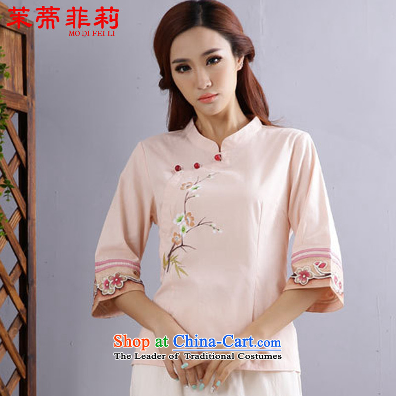 Energy Tifi Li cotton linen clothes female Tang Dynasty Chinese ball-service improvement of ethnic Han-summer pink XL
