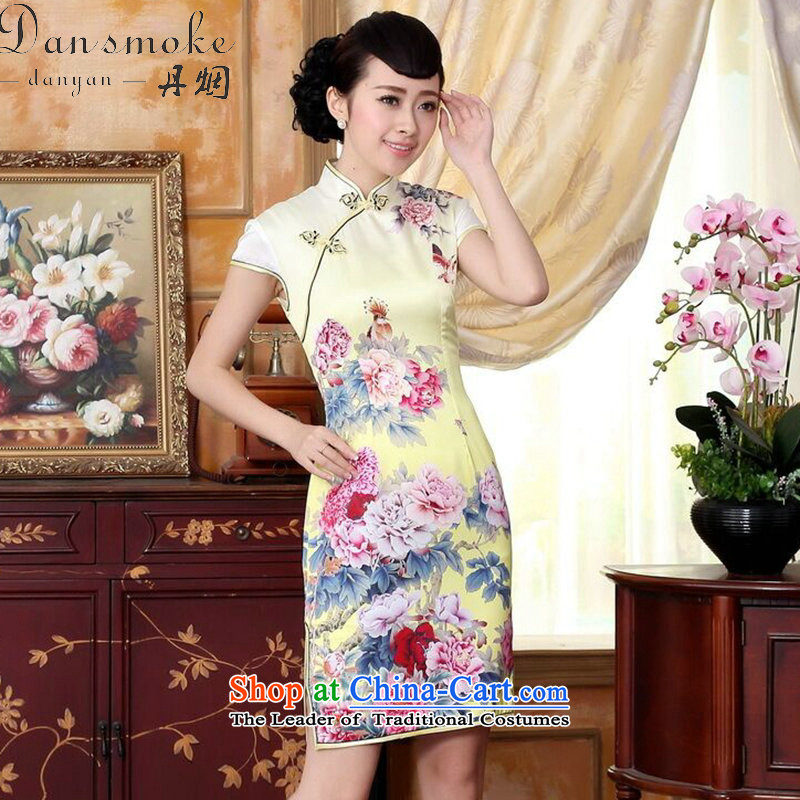 Dan smoke new summer, autumn colors pure silk positioning of Mudan poster herbs extract stretch of short skirt swordmakers Mudan聽S Cheongsam
