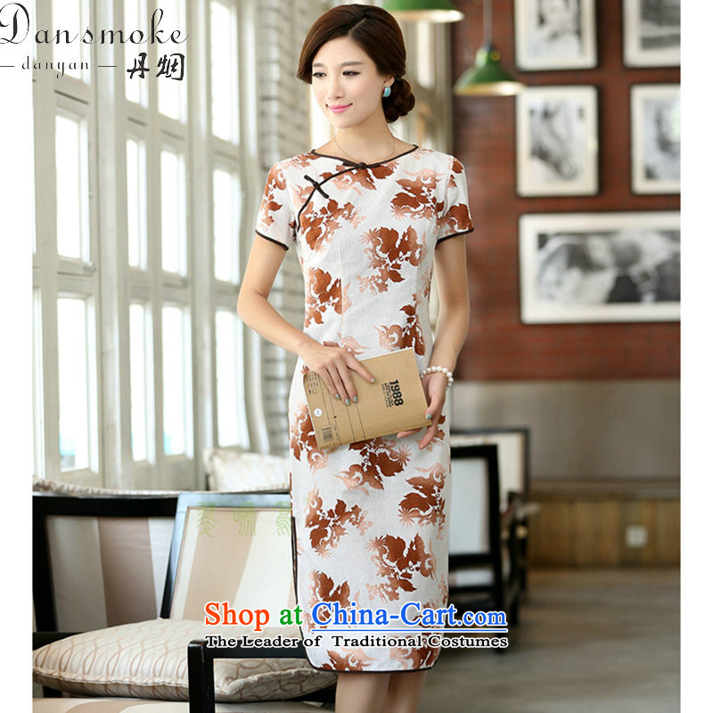 Dan smoke summer female cotton linen collar features a field manual for the first field in the short-sleeved improved long round-neck collar qipao smiling?M