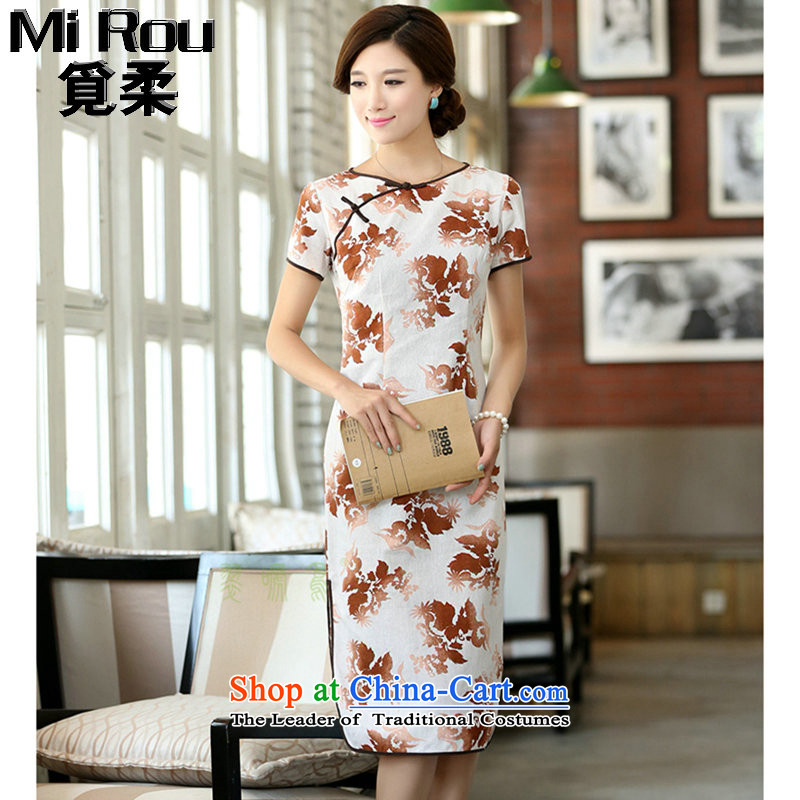 Find Sophie summer female cotton linen collar features a field manual for the first field in the short-sleeved improved long round-neck collar qipao smiling聽2XL