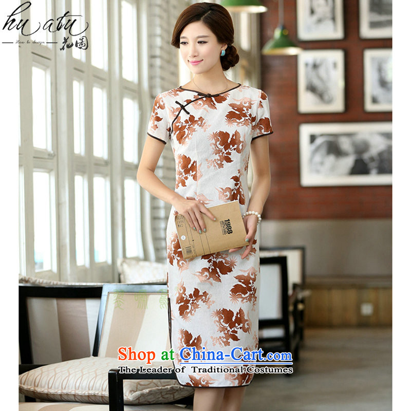 Figure for summer flowers female cotton linen collar features a field manual for the first field in the short-sleeved improved long round-neck collar qipao smiling?M