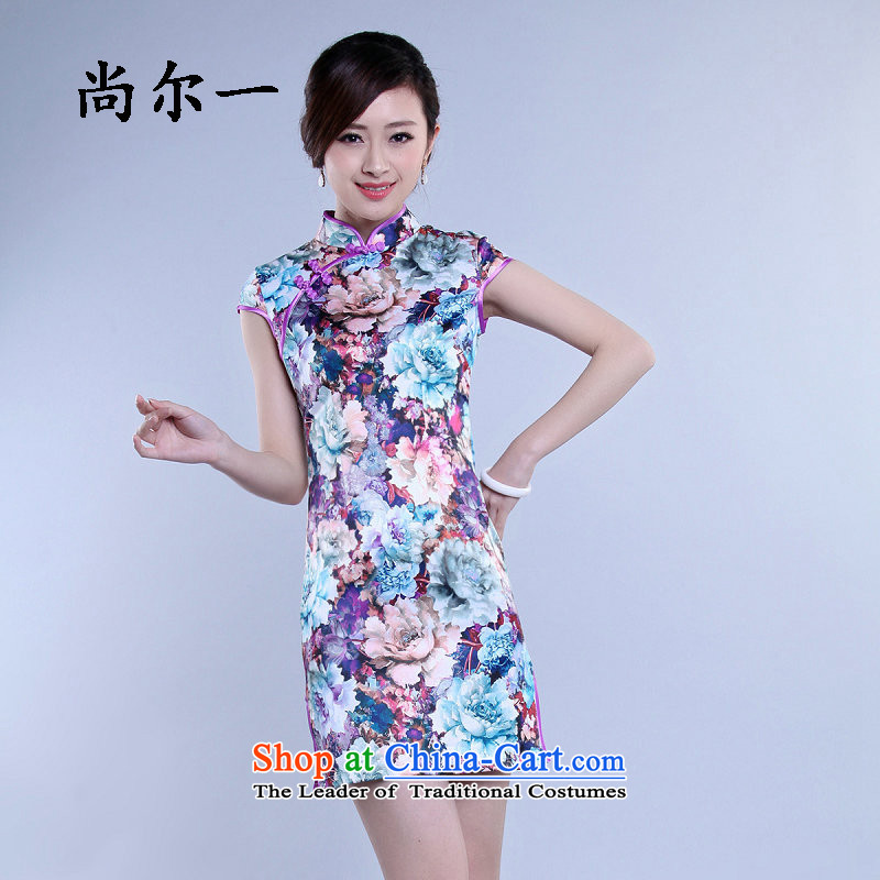 Yet, a 2015 Summer new graphics thin daily elegant qipao retro cheongsam dress improved 6805 light purple XXL