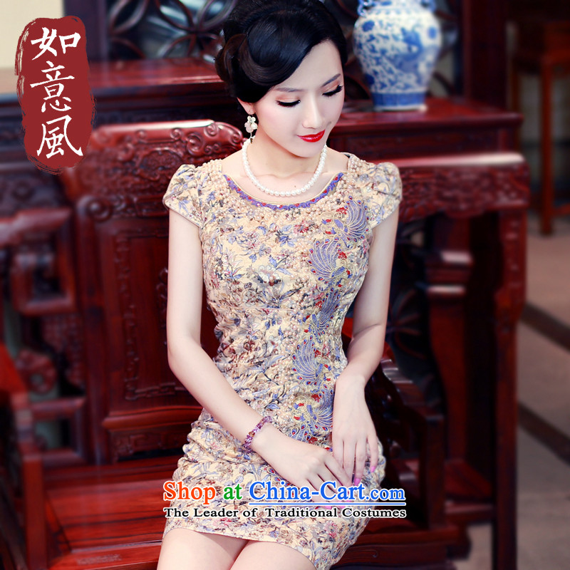 After the new 2015 Summer wind improved cheongsam dress stylish stamp daily cheongsam dress suit 5431 5431�S
