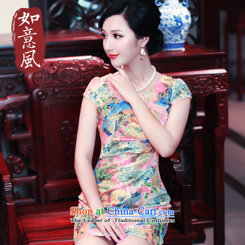 After a new summer daily wind cheongsam dress short of Sau San stylish dresses qipao gown Summer 5427 EDK-51 Reversible 5427 EDK-51 Reversible fashion rainwear female M