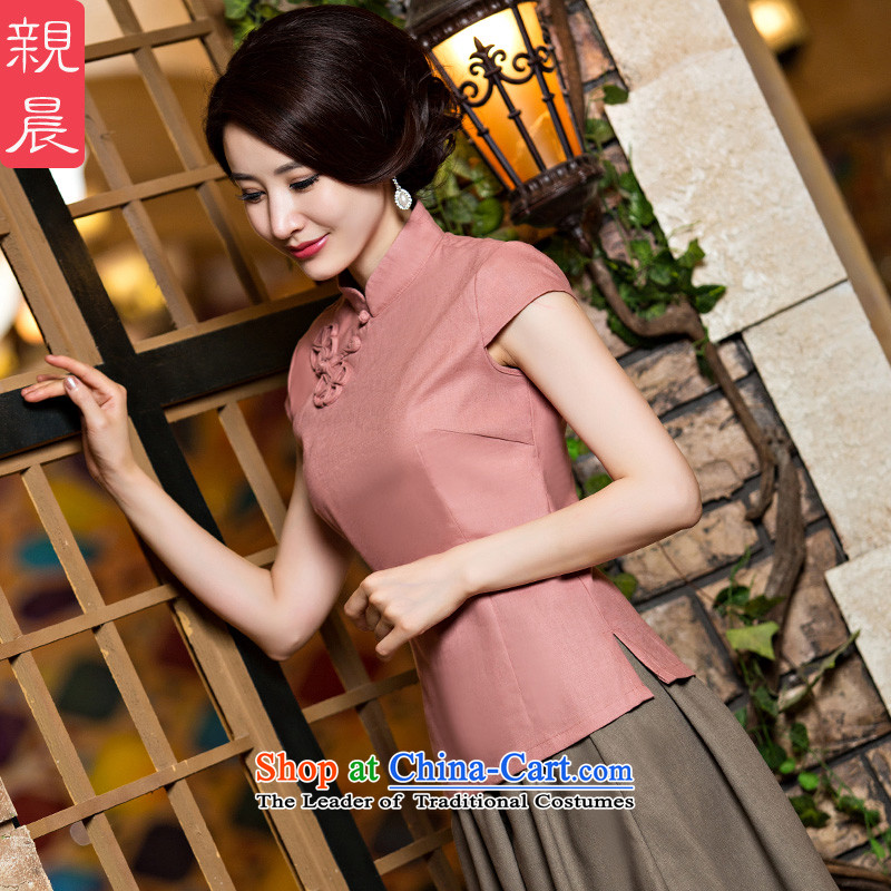 The new 2015 pro-morning daily Tang dynasty female summer qipao shirt improved stylish China wind cotton linen dresses?CND leather pink + card its short skirt?S
