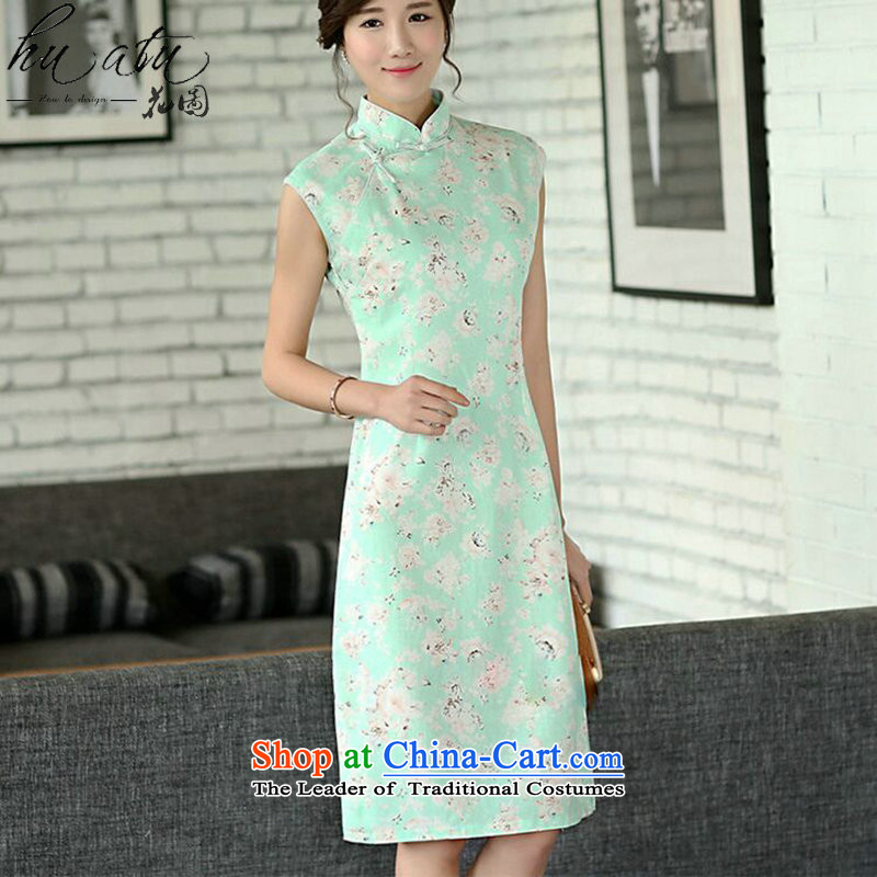 Spend the summer flowers qipao figure retro cheongsam dress, improved collar manually linen qipao Sau San Sleeveless Green Rose燤