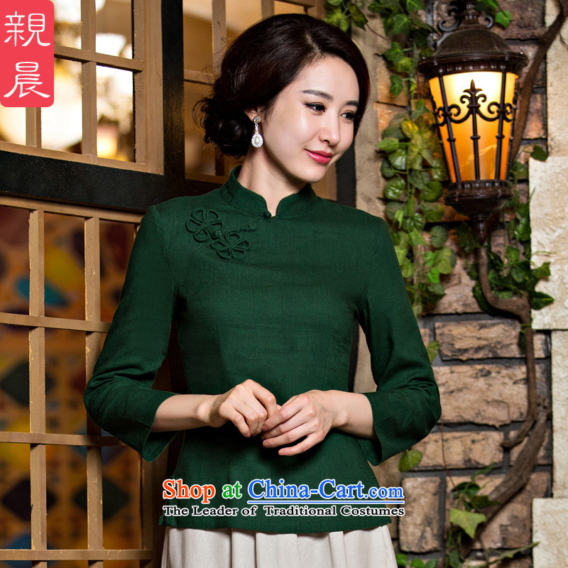 2015 new improved qipao shirt Fall_Winter Collections of ethnic Chinese Daily Ms. cotton linen dresses long-sleeved dark green 9 cuff a flower燲L