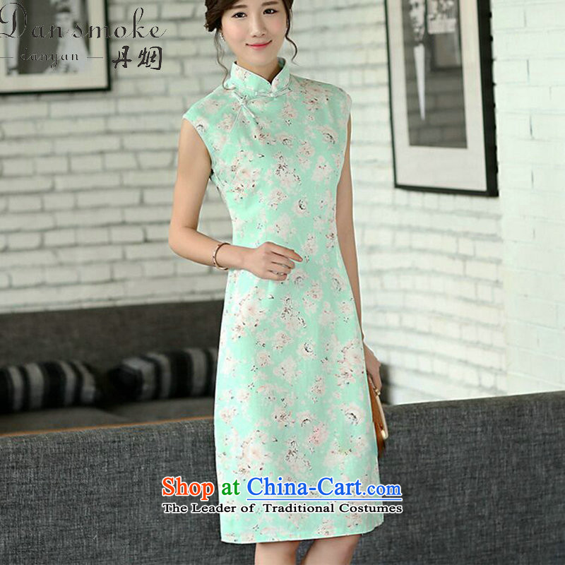 Dan smoke summer flowers retro qipao cheongsam dress, improved collar manually linen qipao Sau San Sleeveless Green Rose聽2XL
