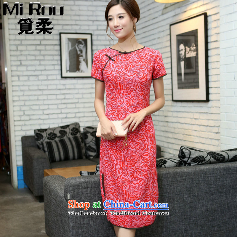 Find Sophie Summer China wind improved female cotton linen round-neck collar qipao short-sleeved manually detained in linen long qipao Cayman Pearl Sha Wah round-neck collar?XL