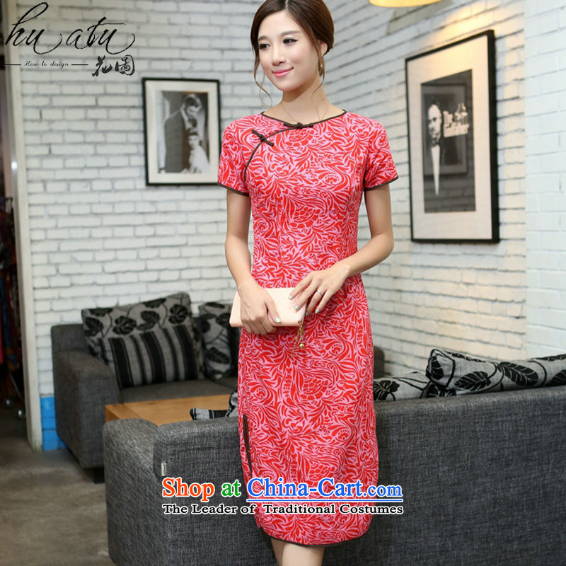 Figure for summer flowers China wind improved female cotton linen round-neck collar qipao short-sleeved manually detained in linen long qipao Cayman Pearl Sha Wah round-neck collar聽M