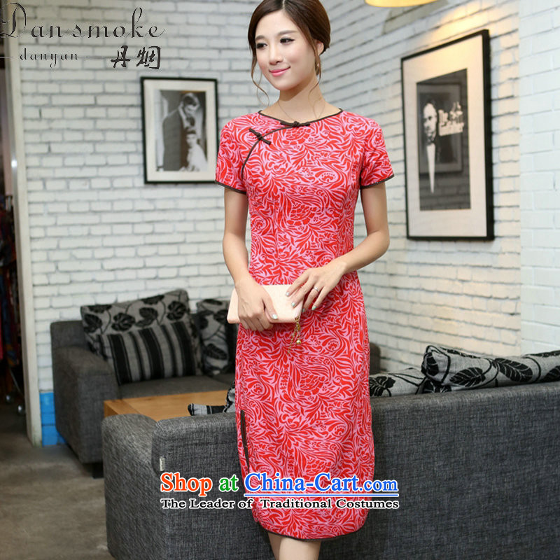 Dan smoke summer China wind improved female cotton linen round-neck collar qipao short-sleeved manually detained in linen long qipao Cayman Pearl Sha China S round-neck collar