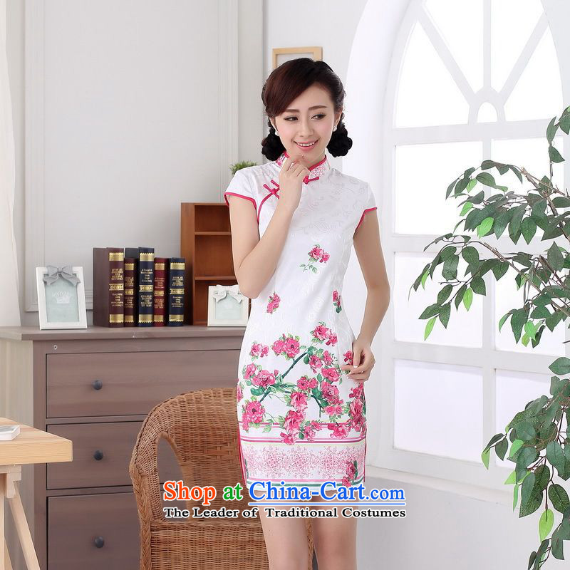 Yet the new floor floor summer elegance Tang dynasty women cheongsam dress suit CHINESE CHEONGSAM pictures graphics thin short-?M