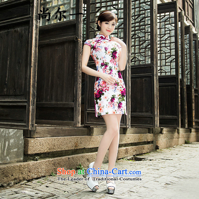 Naoji a qipao skirt retro new 2015 Ms. improved day-to-day summer cheongsam dress short, thin summer Sau San Graphics 6904 figure聽XL