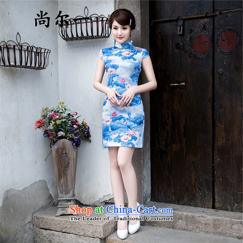 Naoji a retro embroidery blue new short of Sau San wedding dress qipao daily short qipao 6906 Blue燬