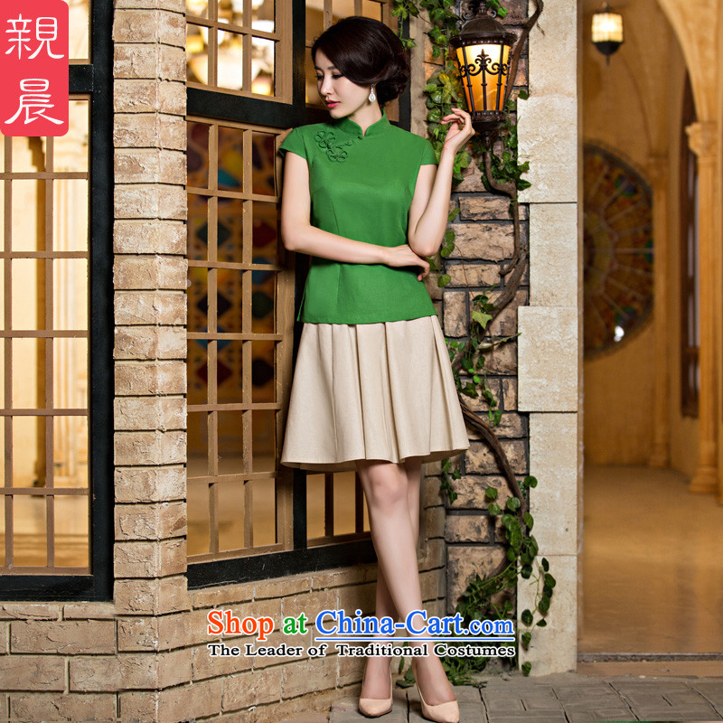 The new 2015 pro-morning short-sleeved T-shirt female summer qipao daily improved stylish Chinese cotton linen cheongsam dress grass green a flower + M white short skirt?M