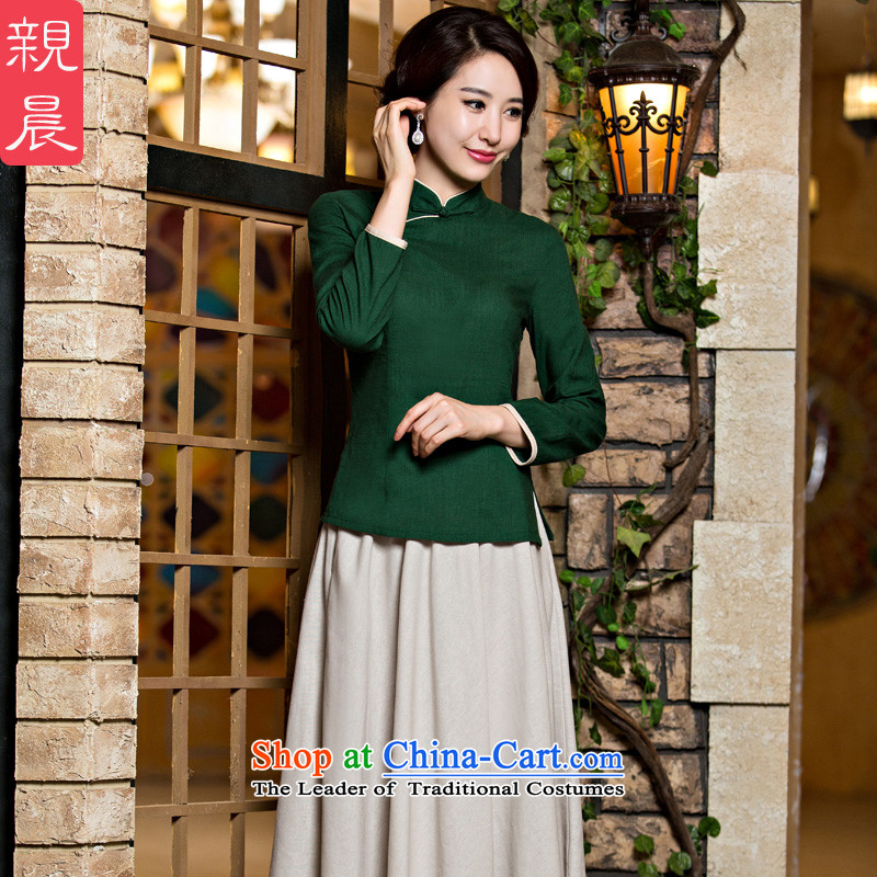 The new 2015 pro-morning improved stylish shirt qipao Fall/Winter Collections, day-to-day retro Chinese cotton linen dresses dark green 9 + m White in cuff skirt�S