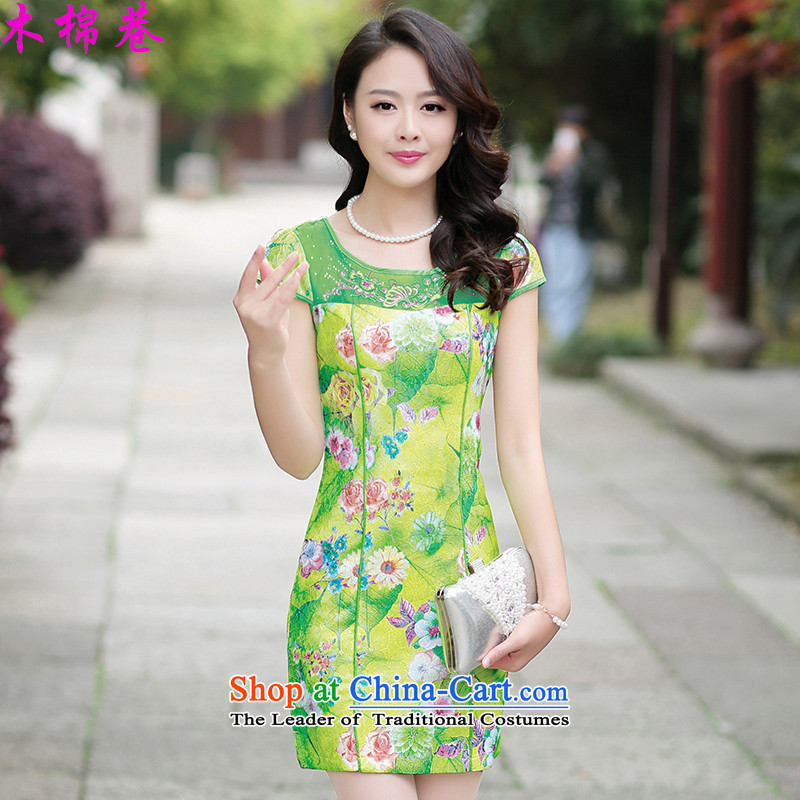 The Kapok Lane, Sau San short qipao bay elegance of the Republic of Korea sincerely, Tang dynasty robe stamp stitching retro style qipao improved daily dresses green background rose聽XL