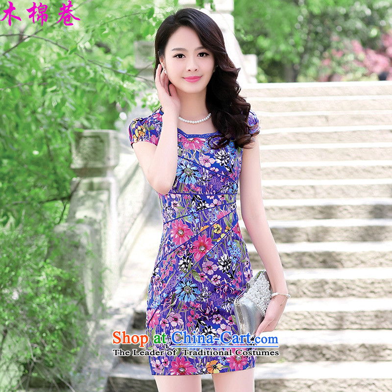 The Kapok Lane 2015 new summer qipao spring retro-day short of improved Sau San stylish cheongsam dress dresses, blue sunflowers聽XL