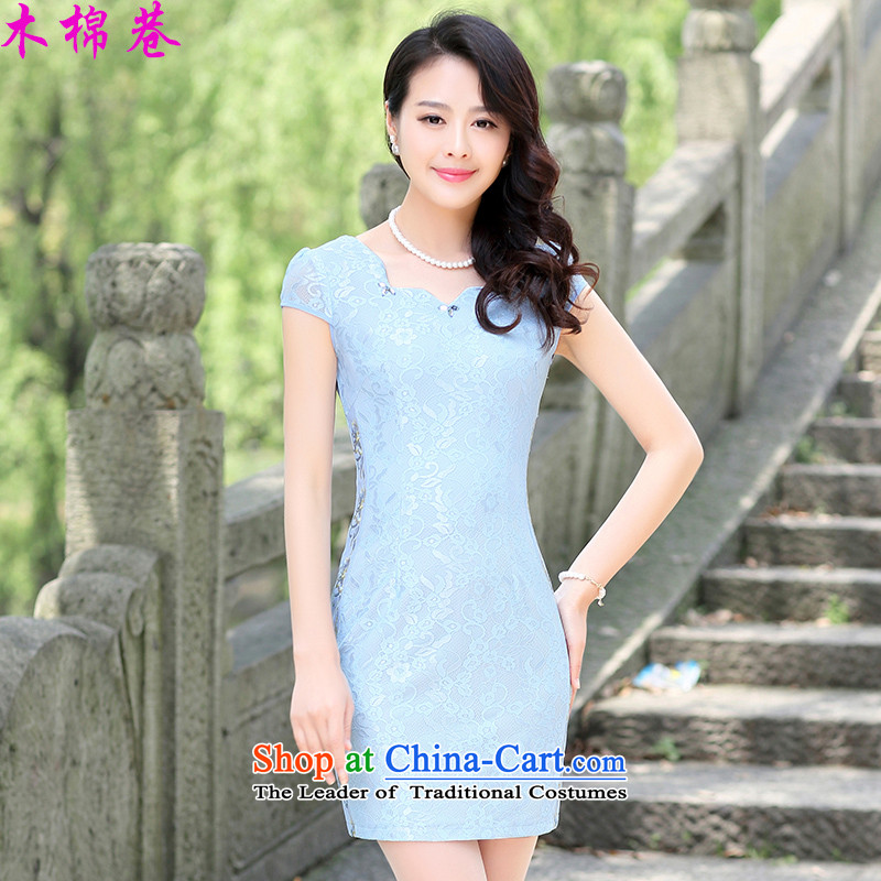 The Kapok Lane 2015 new summer qipao spring cotton retro-day short of improved Sau San stylish cheongsam dress dresses, BLUE聽XXXL