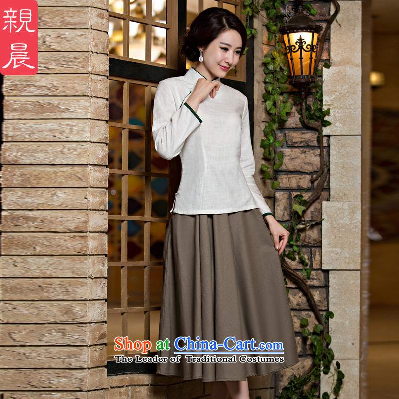 At 2015 new pro-cotton linen dresses T-shirt, autumn and winter load routine Tang dynasty improved long-sleeved stylish skirt the white field detained + card their skirts燲L