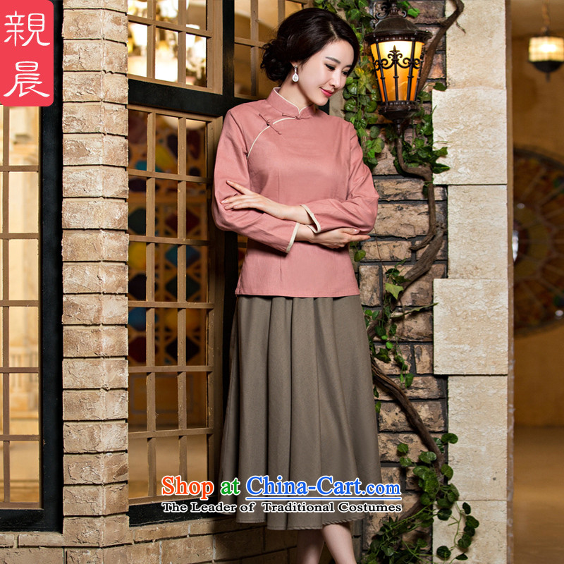 The new 2015 pro-morning cotton linen clothes female autumn and winter cheongsam with daily improved Tang Dynasty Chinese Han-in long leather jacket + card their toner skirt 2XL