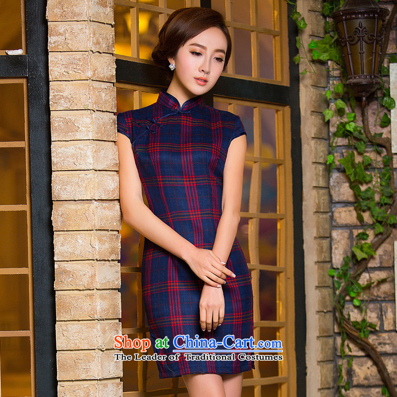 The new spring 2015 of daily retro cheongsam dress improved stylish and elegant qipao cotton linen cheongsam dress L