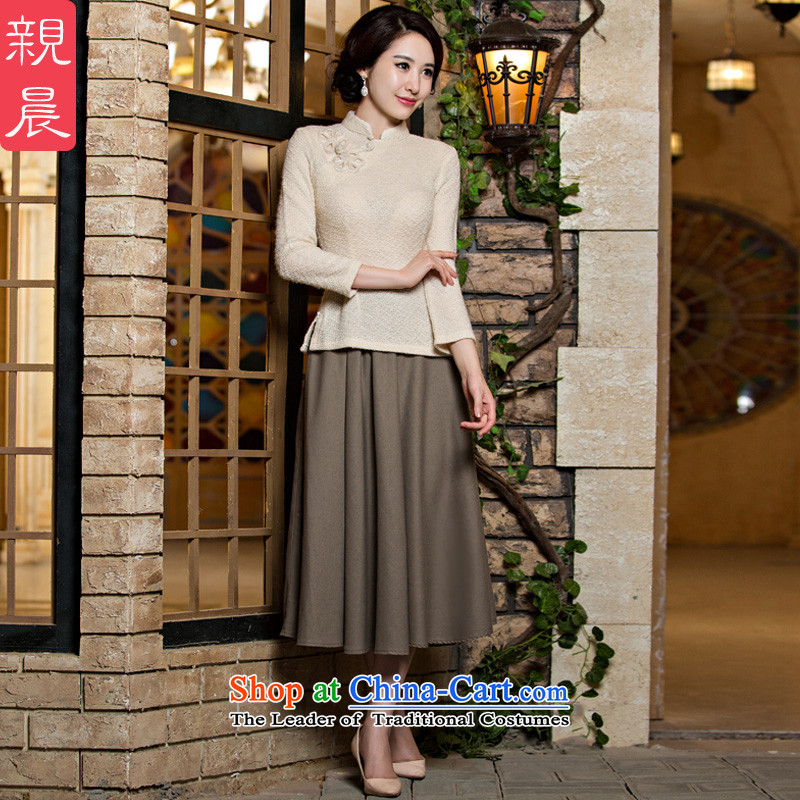 The pro-am daily new 2015 improvement of qipao skirt Fall/Winter Collections female retro knitting clothes dresses pure color a flower + card their skirts?S-30 day shipping