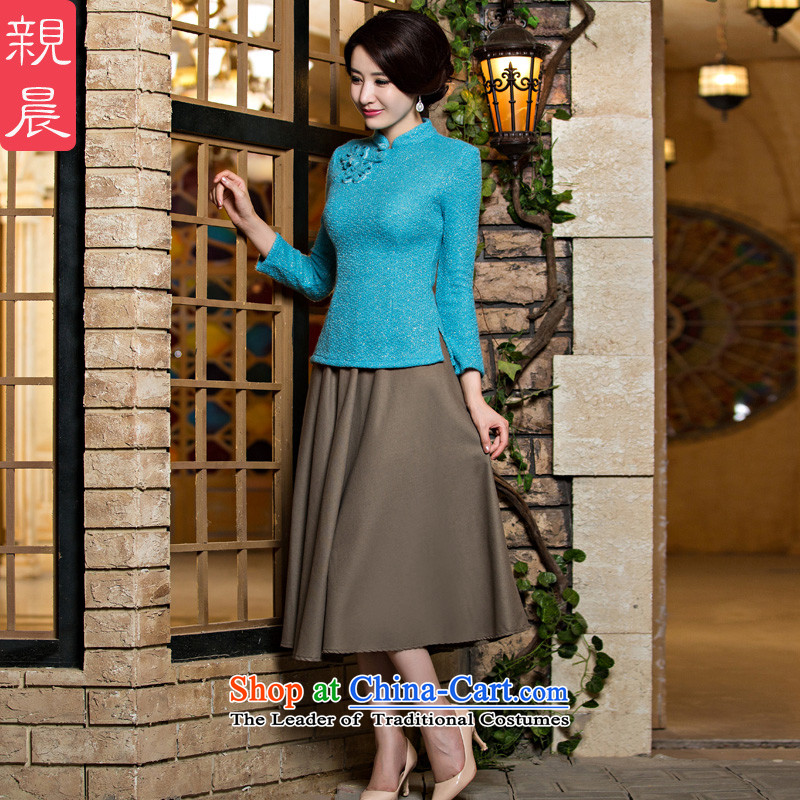 At 2015 new pro-improved stylish shirt autumn summer qipao daily Chinese qipao Ms. knitted dresses light blue wire + card their?S-seven days of skirt