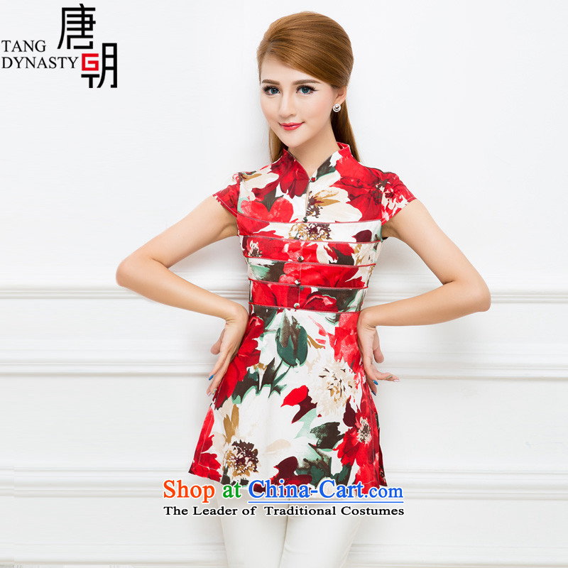 The Tang dynasty 2015 Summer elegant qipao stylish shirt printing improved Sau San Tong load long female TXA41933C emblazoned with the Red Sea-tong?XXL