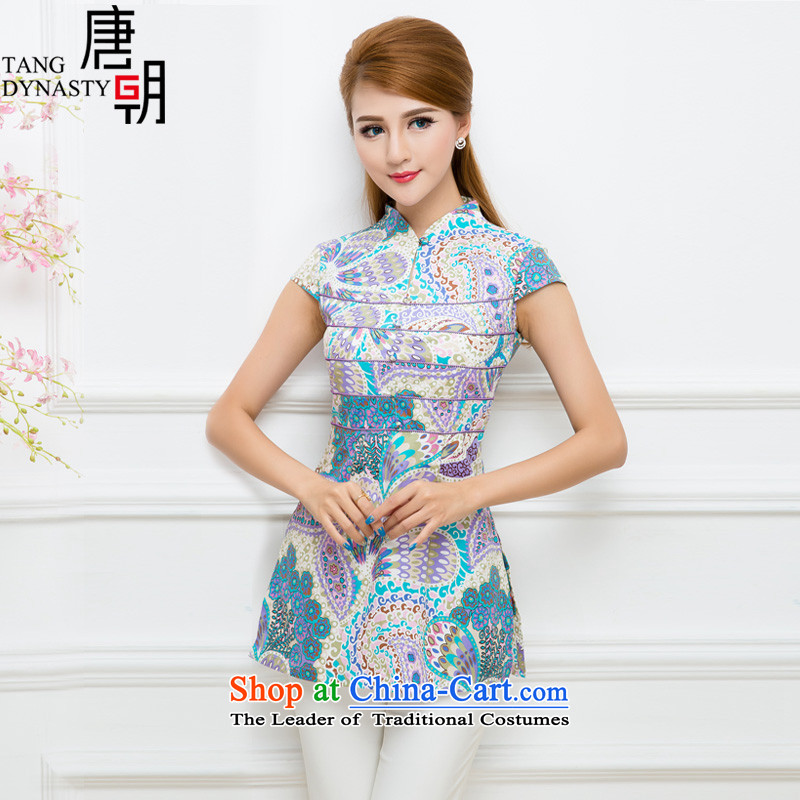 The Tang dynasty 2015 Summer China wind stylish shirt female improvement qipao Sau San Tong TXA41933 in long Peacock _blue_ D. XXL