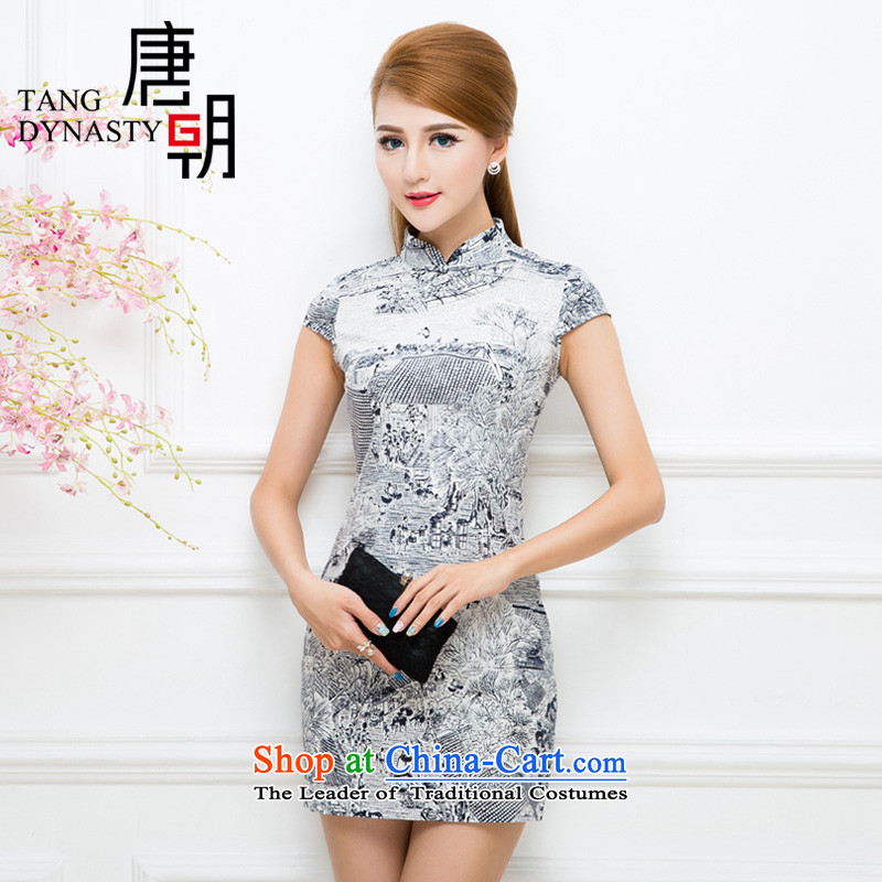 The Tang dynasty 2015 Summer Stylish retro skirt qipao stamp improved daily cheongsam dress female TXF21500G along the River During the Qingming Festival  (black) L