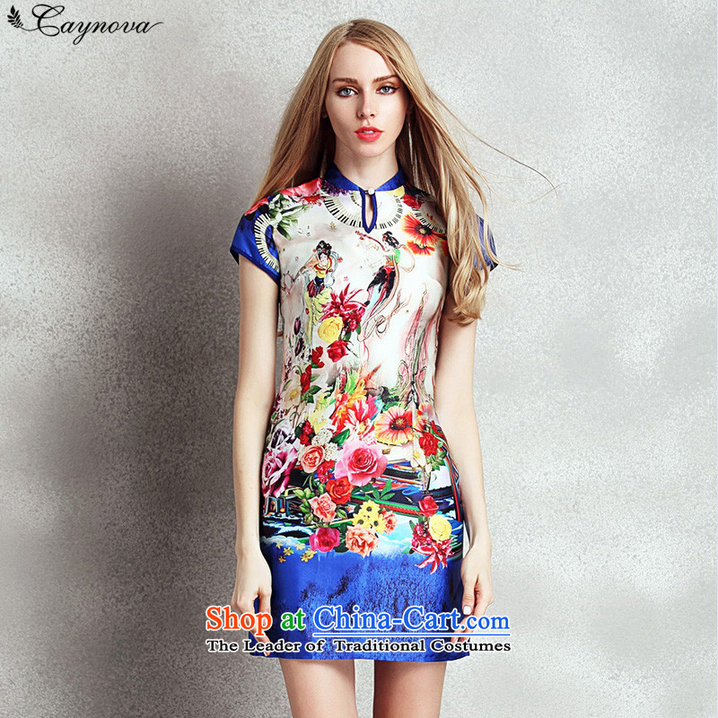 New stylish Rose caynova2015 stamp Sau San video thin retro short of Qipao picture color聽XL