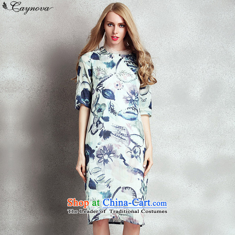 The new summer relaxd caynova2015 large silk cheongsam dress in the commission of paintings stamp long skirt picture color?S